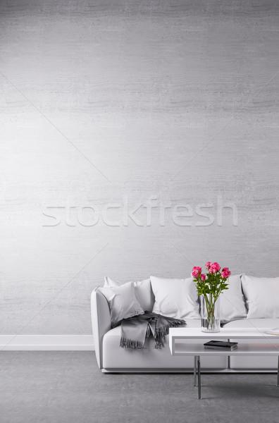 Beyaz kanepe minimalist oda çiçekler tablo Stok fotoğraf © Kzenon