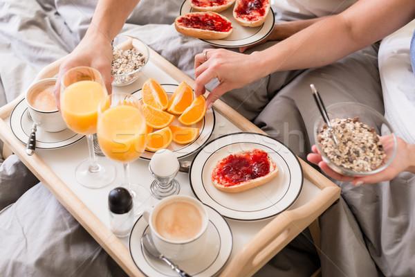 Romantik kahvaltı portakal suyu kahve sağlıklı Stok fotoğraf © Kzenon