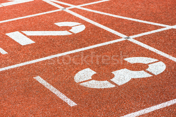 Starting numbers of running track in sports stadium Stock photo © Kzenon