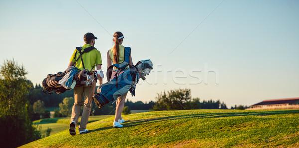 ストックフォト: 幸せ · カップル · 着用 · ゴルフ · スタンド