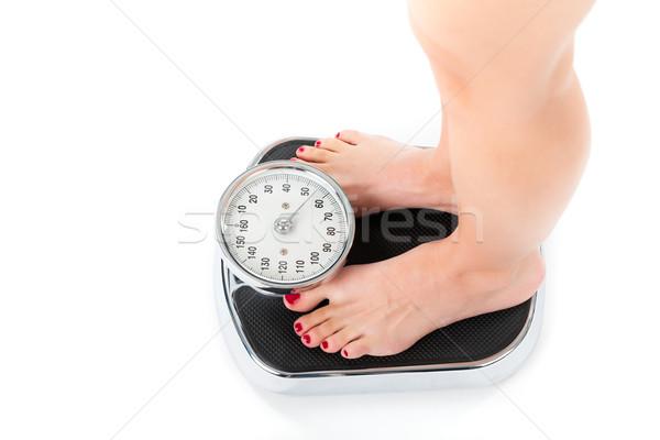 Genç kadın ayakta ölçek diyet ağırlık ayaklar Stok fotoğraf © Kzenon