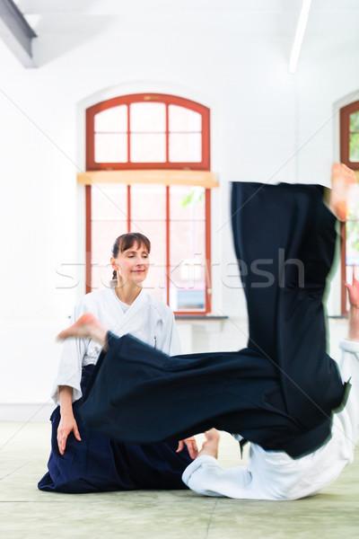 Aikido leraar student opleiding vallen Stockfoto © Kzenon