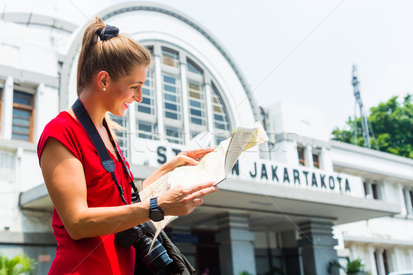 Tourist at sightseeing with bagpack in Indonesia Stock photo © Kzenon