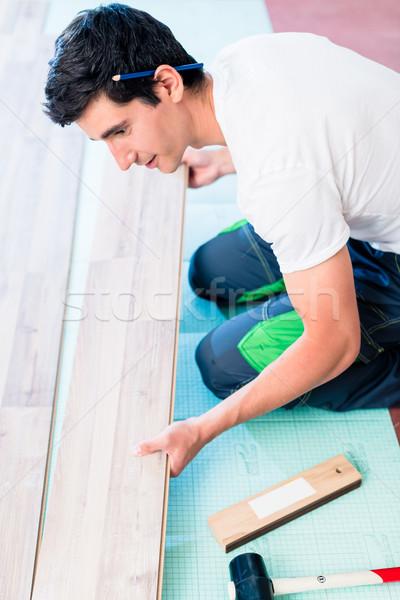 Handwerker Bodenbelag home Baustelle Haus Stock foto © Kzenon