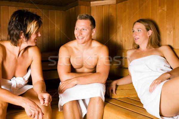 Vrienden sauna drie mensen een mannelijke twee Stockfoto © Kzenon