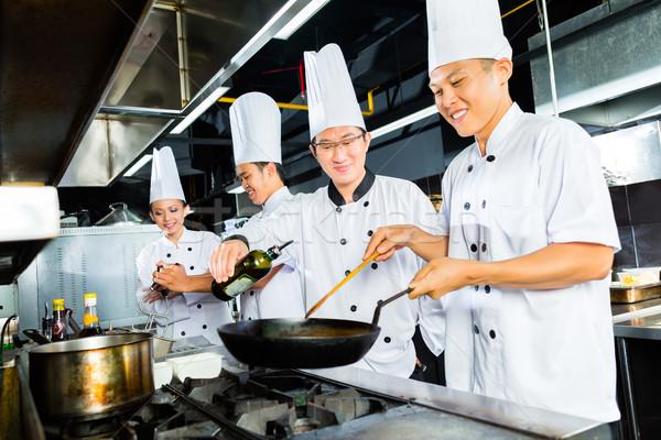 Stock fotó: ázsiai · séfek · étterem · konyha · főzés · étel