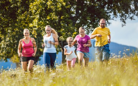 Family having walk on path in the woods Stock photo © Kzenon