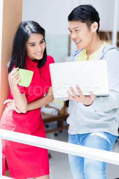 Kettő határozott alkalmazottak tervez sikeres üzleti stratégia Stock fotó © Kzenon