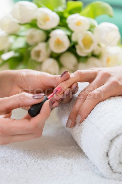 Hands of a skilled manicurist applying red nail polish on the na Stock photo © Kzenon