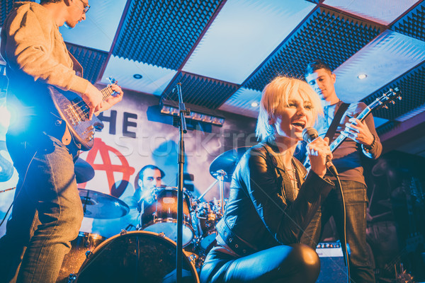 Foto d'archivio: Band · giocare · fase · musica · insieme