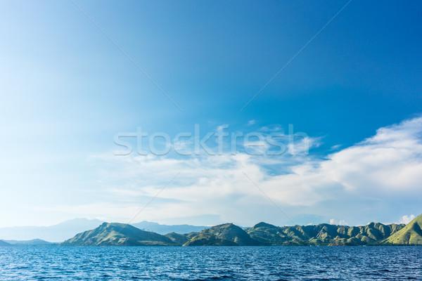 Idilli tengeri kilátás tengerpart sziget Indonézia felhős Stock fotó © Kzenon