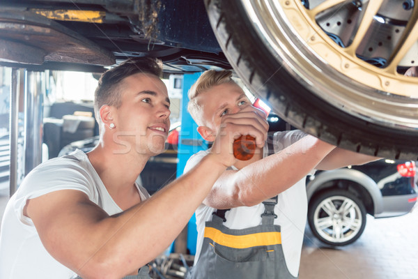 Two dedicated auto mechanics tuning a car Stock photo © Kzenon