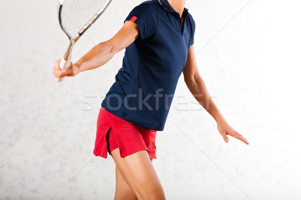 スカッシュ ラケット スポーツ ジム 女性 演奏 ストックフォト © Kzenon