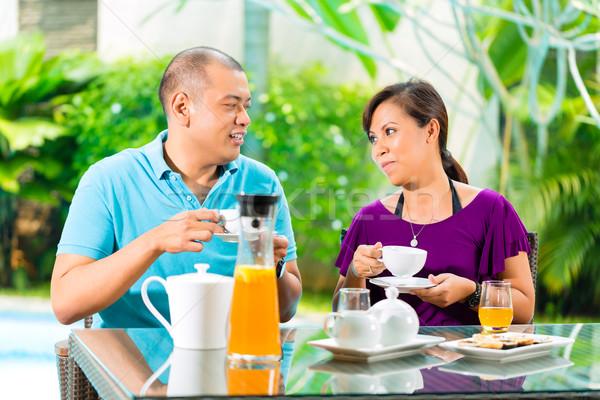 Asia Pareja café casa porche tropicales Foto stock © Kzenon
