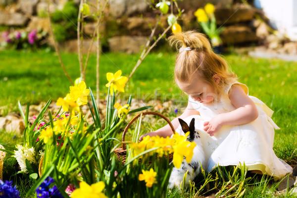 少女 イースターエッグハント 卵 女の子 草原 春 ストックフォト © Kzenon
