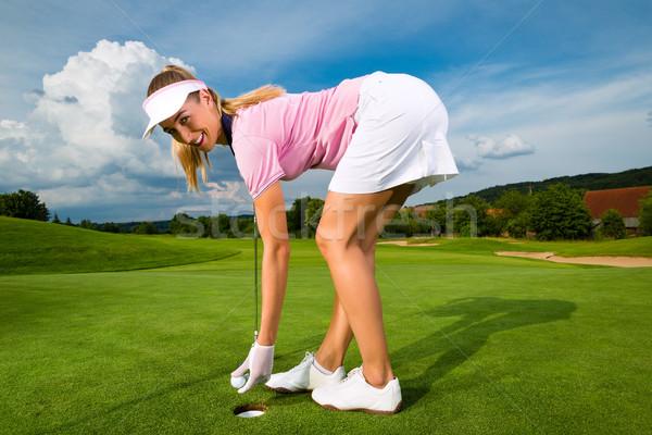 Stock fotó: Fiatal · női · golfozó · golf · hinta · nő