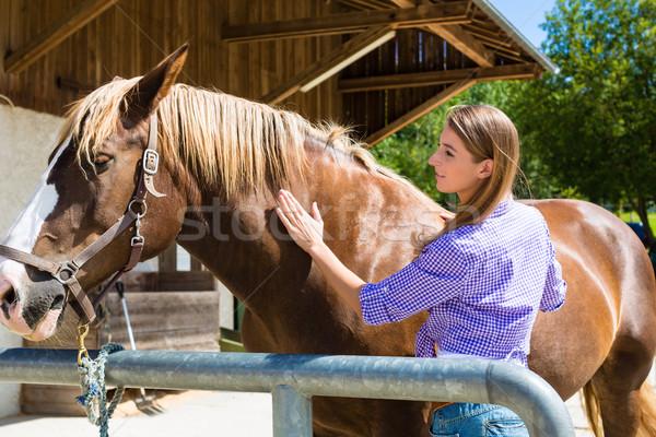 Jonge vrouw stabiel paard zon landschap grappig Stockfoto © Kzenon