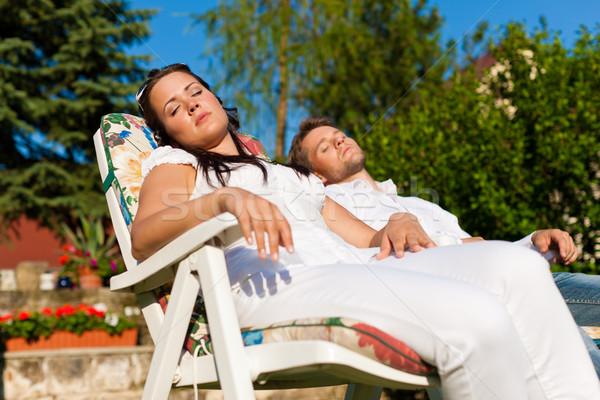 カップル デッキ 椅子 夏 幸せ ストックフォト © Kzenon