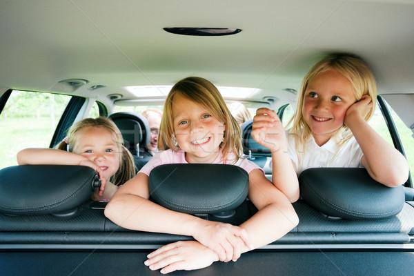 ストックフォト: 家族 · 旅行 · 車 · 3 · 子供 · 子供