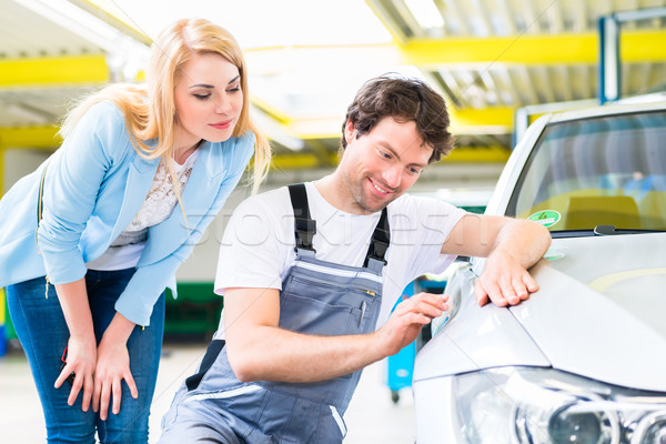 Customer and car painter in auto workshop  Stock photo © Kzenon