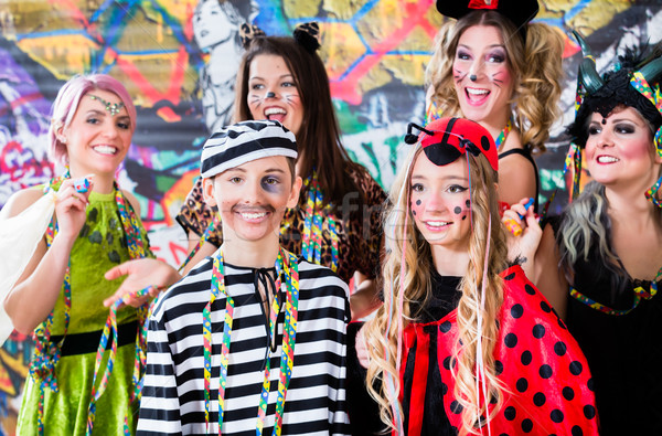Young women celebrating German fasching Carnival at Rose Monday  Stock photo © Kzenon