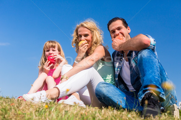 Parents and daughter eating apples  Stock photo © Kzenon