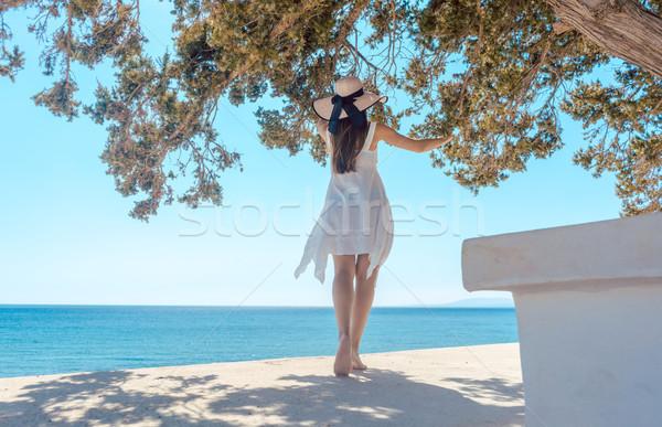 Mulher grego férias olhando oceano árvore Foto stock © Kzenon