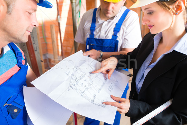 Work Team on construction site controlling floor plan Stock photo © Kzenon