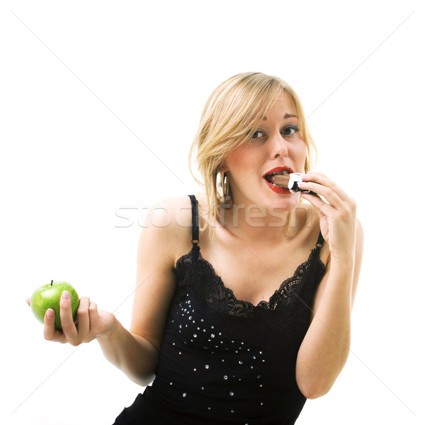 Woman eating chocolate  Stock photo © Kzenon