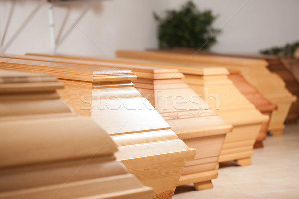 Coffins in shop of mortician Stock photo © Kzenon