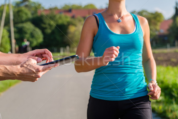 couple running, sport jogging on rural street Stock photo © Kzenon