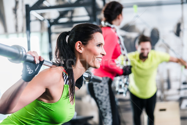 Woman in functional training lifting weights in gym Stock photo © Kzenon