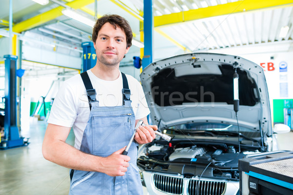 car mechanic working with tool in service workshop Stock photo © Kzenon