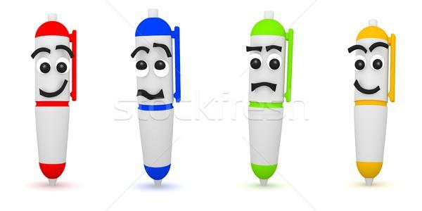 3D Rendering of four funny pens on white Stock photo © Kzenon