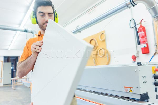ács bútor gyár dolgozik gép nagyszerű Stock fotó © Kzenon
