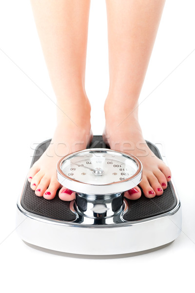 Jonge vrouw permanente schaal dieet gewicht voeten Stockfoto © Kzenon