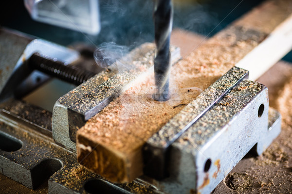 Work with power drill in workshop of carpenter Stock photo © Kzenon