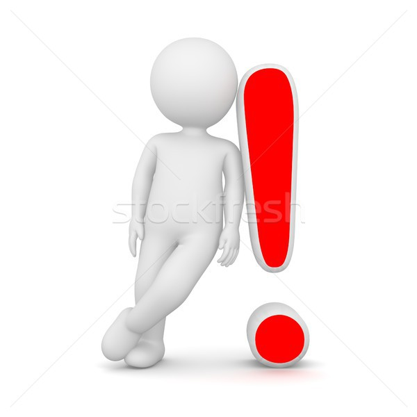 3D Rendering of a man leaning on a red exclamation mark Stock photo © Kzenon