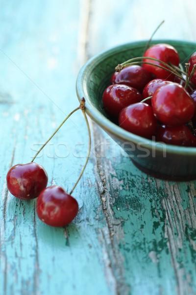 Kersen smakelijk kom voedsel natuur blad Stockfoto © laciatek