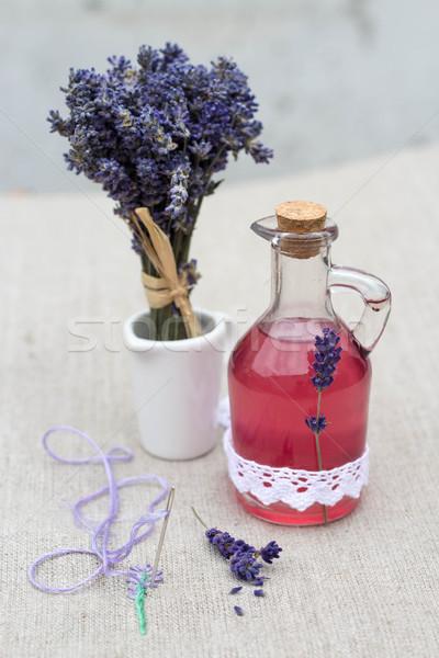 Vintage vidrio botella naturales lavanda jarabe Foto stock © laciatek