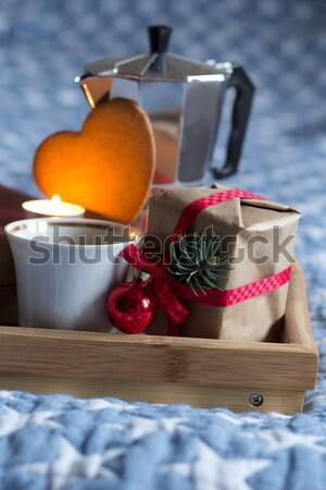 Dom amor manhã café coração retro Foto stock © laciatek