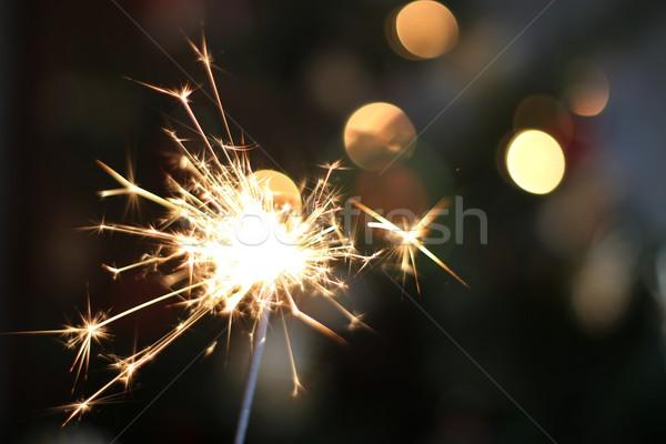 бенгальский огонь праздник красивой bokeh свет ночь Сток-фото © laciatek