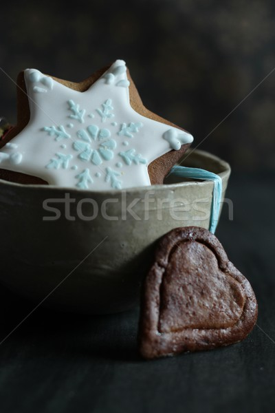 Voedsel man cake winter zoete cookie Stockfoto © laciatek