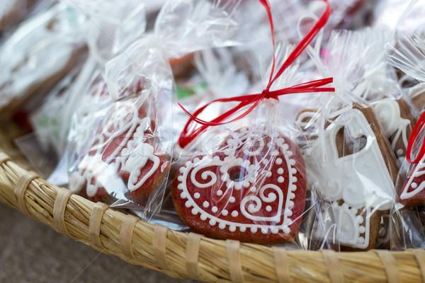 Traditioneel eigengemaakt christmas peperkoek feestelijk hout Stockfoto © laciatek