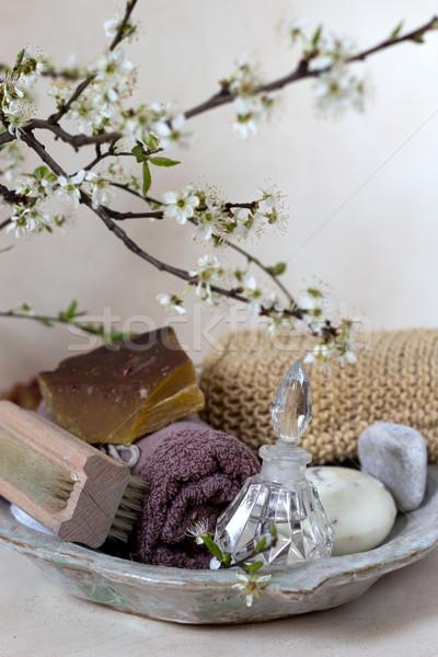 Detail badkamer bloem bloemen home achtergrond Stockfoto © laciatek