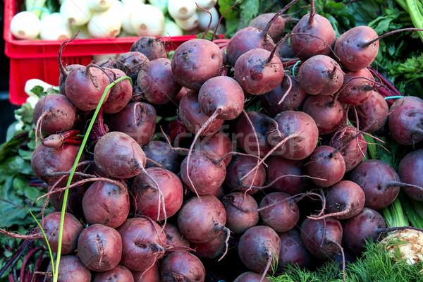 Rynek tle lata rynku jedzenie świeże Zdjęcia stock © laciatek