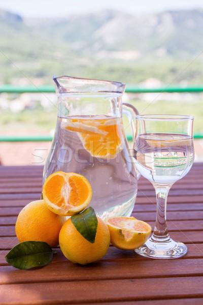 água fresco laranjas terraço comida vidro Foto stock © laciatek