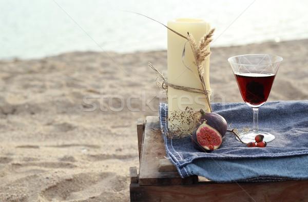 Stock fotó: Gyertya · vörösbor · tengerpart · gyertyák · romantikus · vacsora