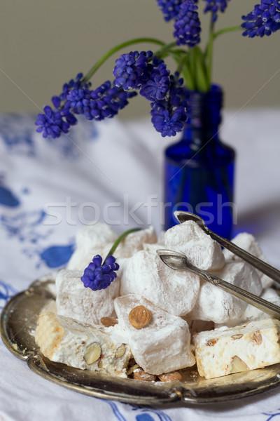 Chá prato uva mel doce raio Foto stock © laciatek