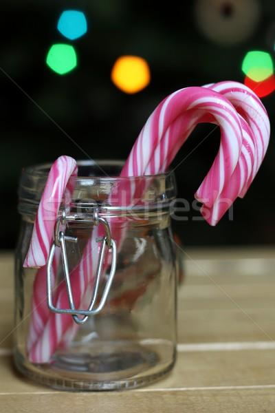 Natal jarra comida tabela vermelho Foto stock © laciatek